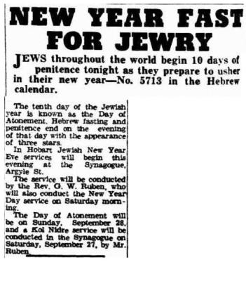New Year fast for Jewry