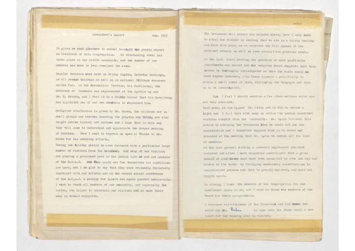 Hobart Hebrew Congregation 1953 Annual Report