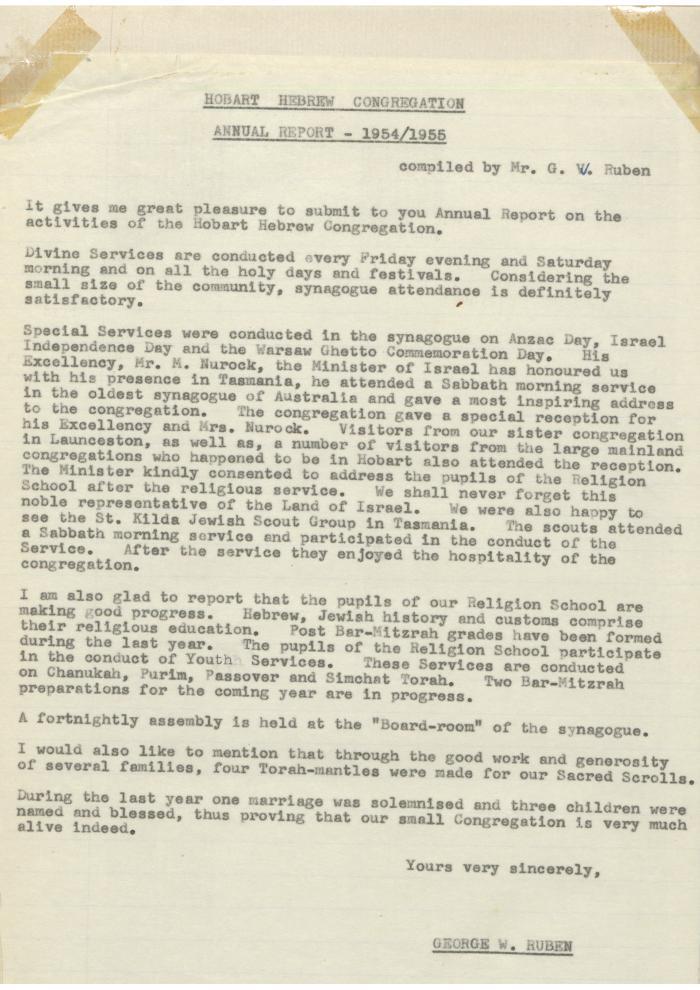 Hobart Hebrew Congregation Annual Report 1954/1955