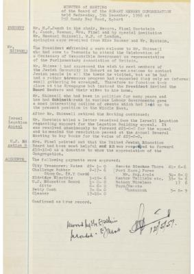 Hobart Hebrew Congregation Meeting Minutes, 5 December 1956