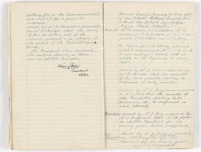 Meeting Minute Original Page, 20 January 1931 - 31 May 1931