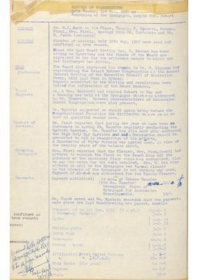 Hobart Hebrew Congregation Meeting Minutes, 3 November 1957