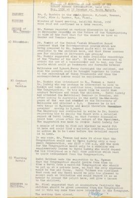 Hobart Hebrew Congregation Meeting Minutes, 16 May 1956