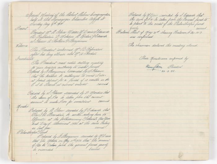 Meeting Minute Original Page, 9 August 1931