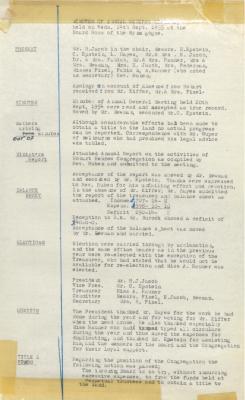 Hobart Hebrew Congregation Meeting Minutes, 14 September 1955