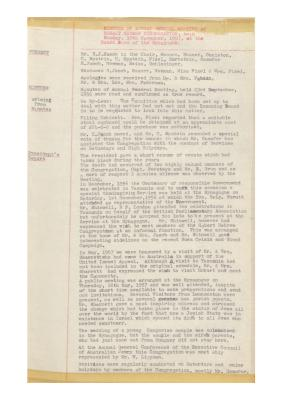 Hobart Hebrew Congregation Meeting Minutes, 10 November 1957