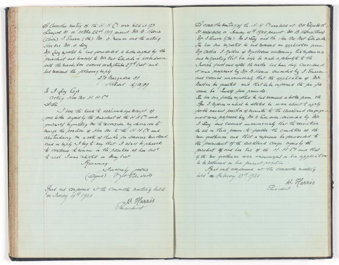 Meeting Minute Original Page, 22 October 1919 - 4 January 1920