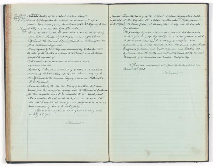 Meeting Minute Original Page, 10 August 1920 - 1 December 1920