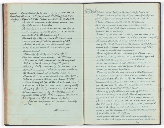 Meeting Minute Original Page, 18 December 1921 - 13 May 1922