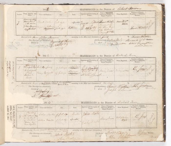 Marriage Register September 1842 to September 1844