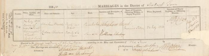 Abraham Marks & Rebecca Abraham marriage record