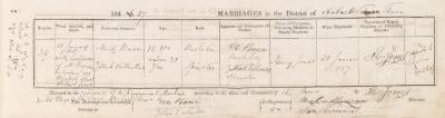 Moritz Baar & Zillah Vallentine marriage record
