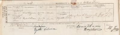 Simeon Benjamin & Elizabeth Solomon marriage record