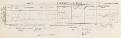 John Davis & Sarah Abrahams marriage record