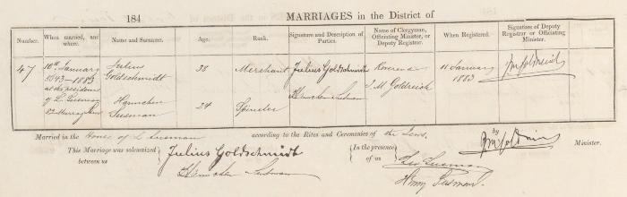 Julius Goldschmidt & Hannchen Susman marriage record