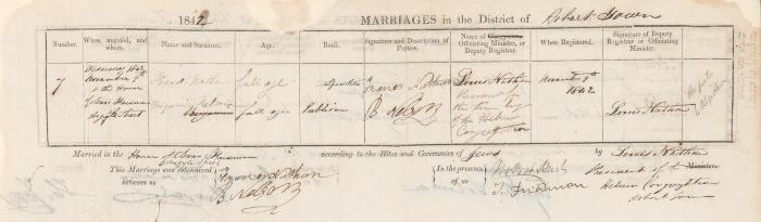 Benjamin Nelson & Frances Nathan marriage record