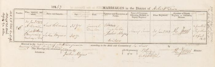 Saul Solomons & Julia Myers marriage record