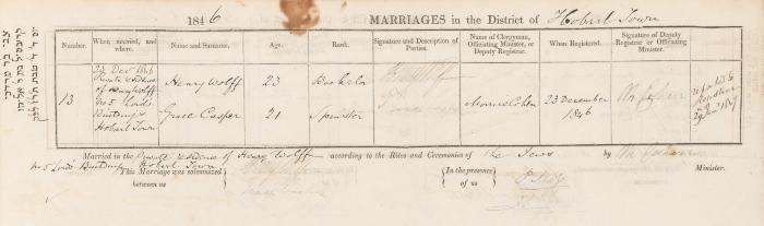 Henry Wolff & Grace Casper marriage record