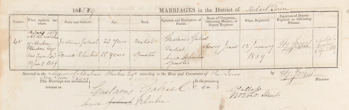 Gustavus Gabriel & Louisa Rheuben marriage record