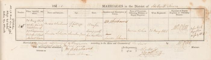 Moses Abrahams & Louisa Solomon marriage record