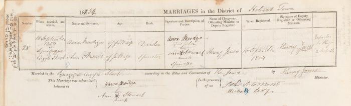 Aaron Mendoza & Ann Stewart marriage record