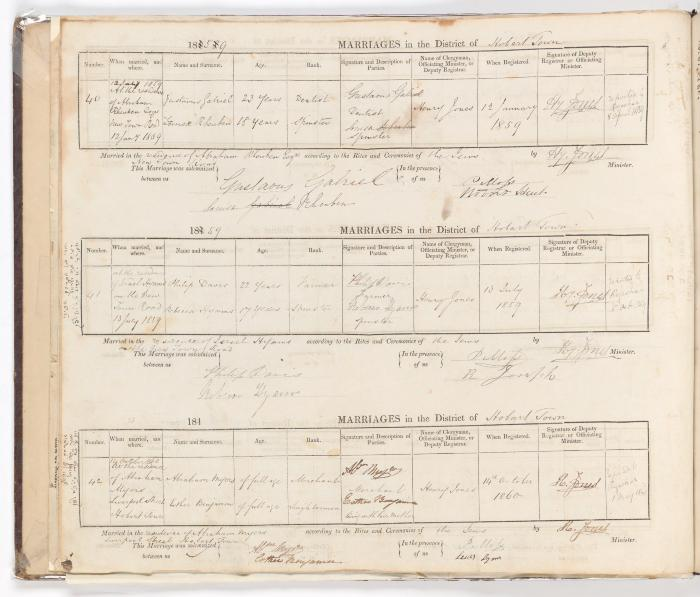 Marriage Register February 1857 to October 1860