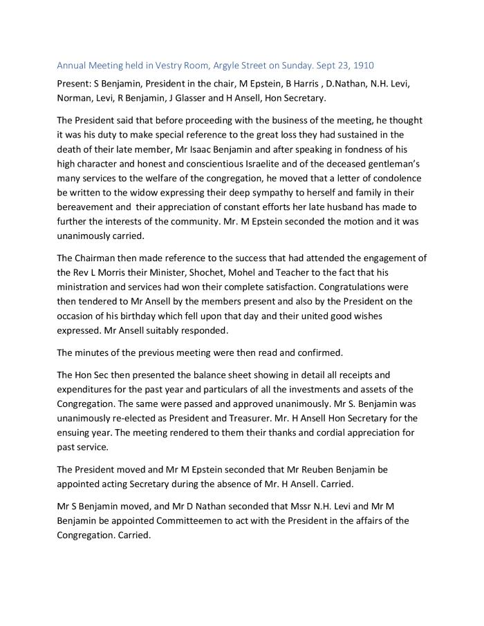 Meeting Minutes Transcription, 23 September 1910