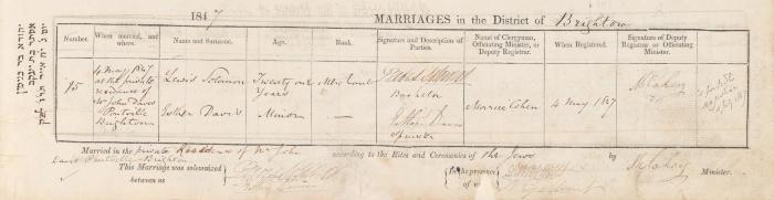 Lewis Solomon & Esther Davis marriage record