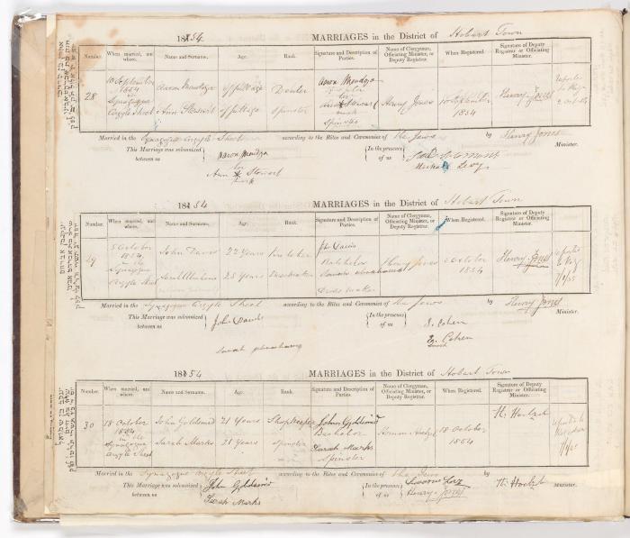 Marriage Register June 1853 to October 1854