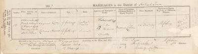 Lazarus Levy & Rebecca Harris marriage record