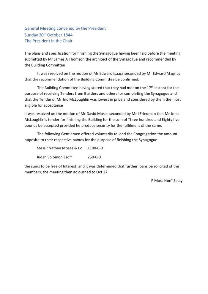 Meeting Minutes Transcription, 20 October 1844