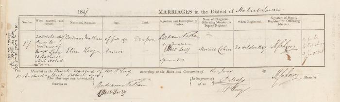 Bertram Nathan & Ellen Levy marriage record