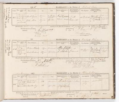 Marriage Register November 1860 to January 1869