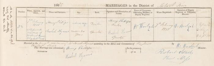 Henry Phillips & Rachel Hyams marriage record