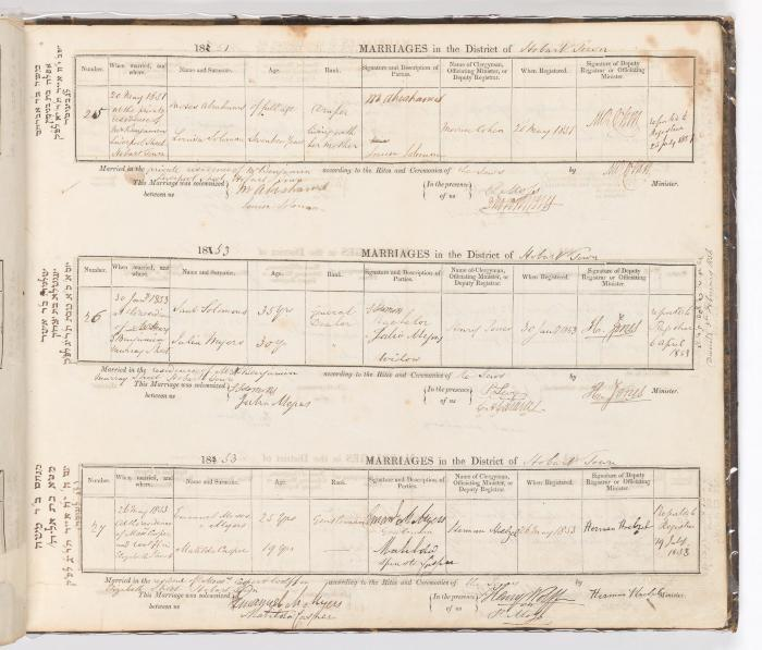 Marriage Register August 1850 to May 1853