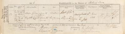 Moses Cohen & Elizabeth Lazarus marriage record