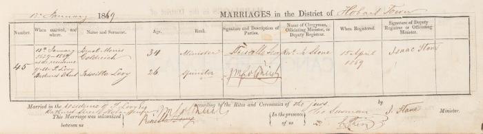 Israel Morris Goldreich & Priscilla Levy marriage record