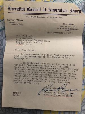 Letter from Sydney Einfeld