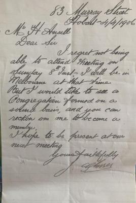 Letter from Joseph Glasser to Henry Ansell