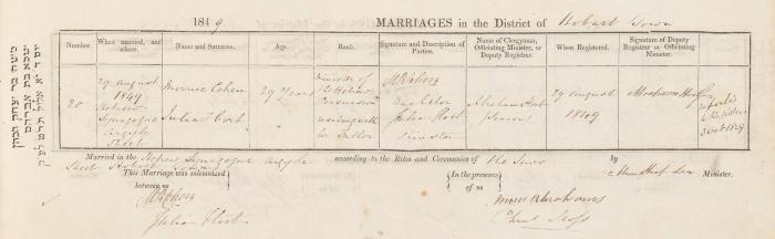 Morrice Cohen & Julia Hort marriage record
