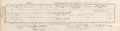 John Goldsmid & Sarah Marks marriage record