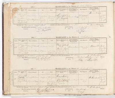 Marriage Register April 1855 to December 1855