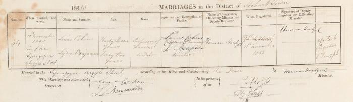 Lewis Cohen & Lydia Benjamin marriage record