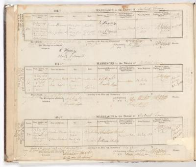 Marriage Register December 1849 to July 1850