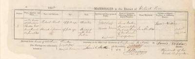 Robert Hart & Hannah Solomon marriage record