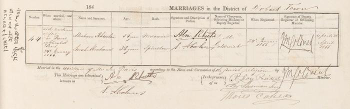 Abraham Rheuben & Sarah Abrahams marriage record