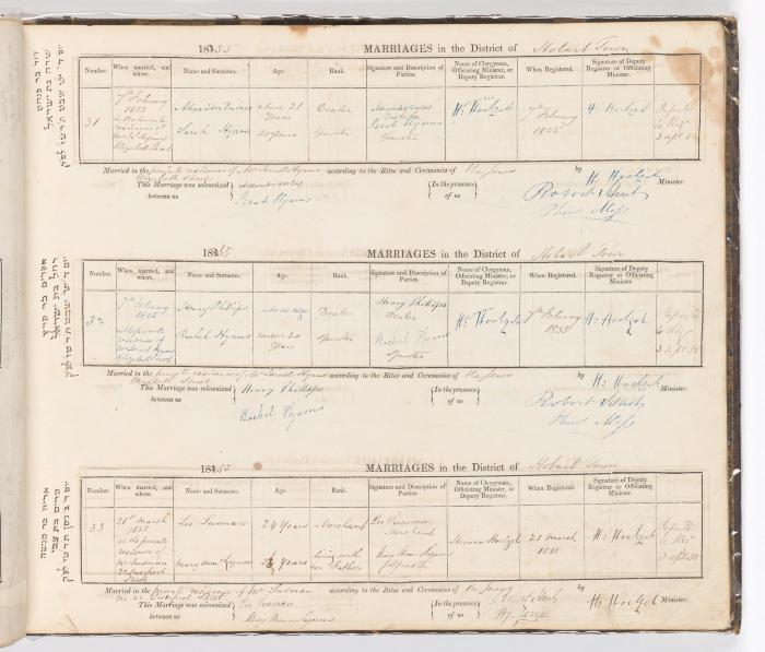 Marriage Register November 1854 to March 1855