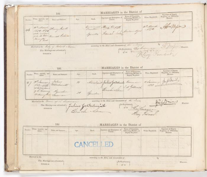 Marriage Register February 1869 to January 1883
