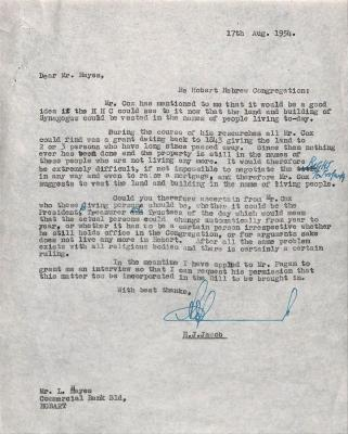 Letter from Hans Jacob about synagogue and land.