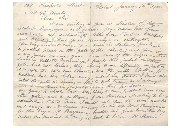 Letter from Isaac Benjamin to Henry Ansell